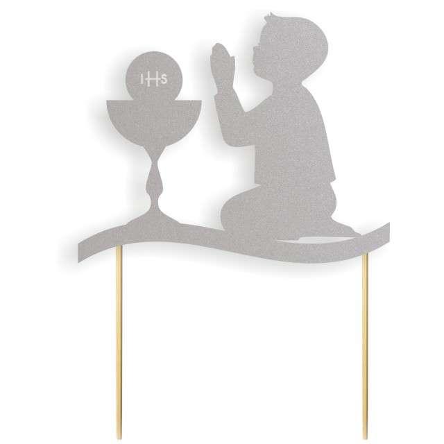 """Dekoracja na tort papierowa """"I Komunia Św. Chłopiec"""", srebrna,  17 cm"""