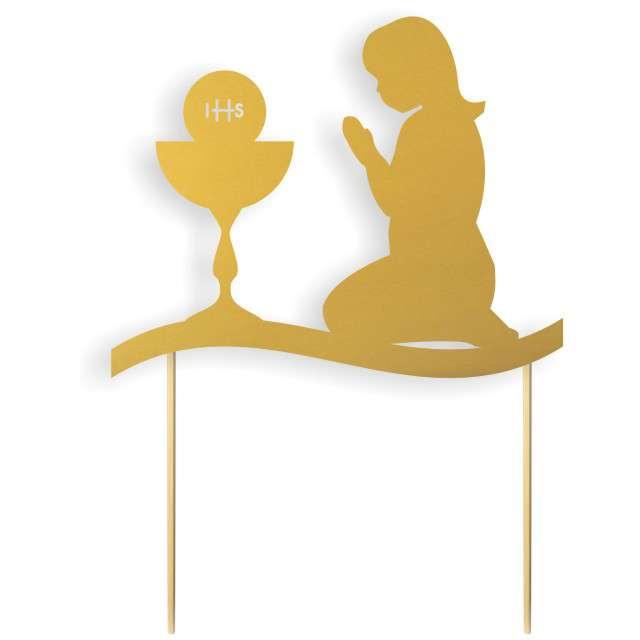 """Dekoracja na tort papierowa """"I Komunia Św. Dziewczynka"""", złota,  17 cm"""