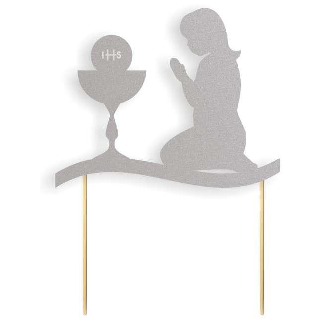 """Dekoracja na tort papierowa """"I Komunia Św. Dziewczynka"""", srebrna,  17 cm"""