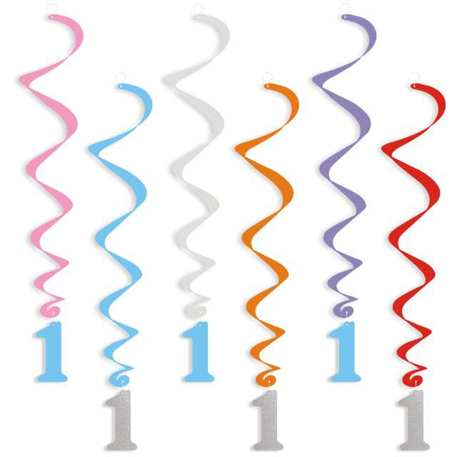 """Świderki wiszące """"Urodziny  1"""", srebrno-błękitne, 6 szt"""