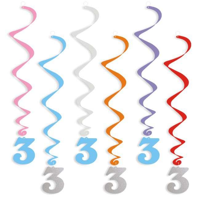 """Świderki wiszące """"Urodziny  3"""", srebrno-błękitne, 6 szt"""