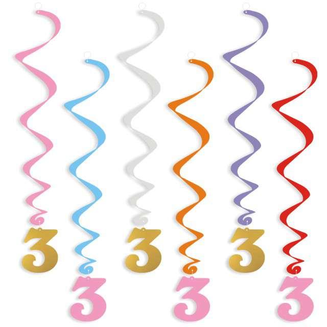 """Świderki wiszące """"Urodziny  3"""", złoto-różowe, 6 szt"""
