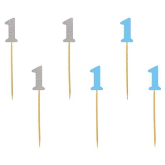 """Szpilki drewniane """"Urodziny  1"""", błękitno-srebrne, 6 szt"""