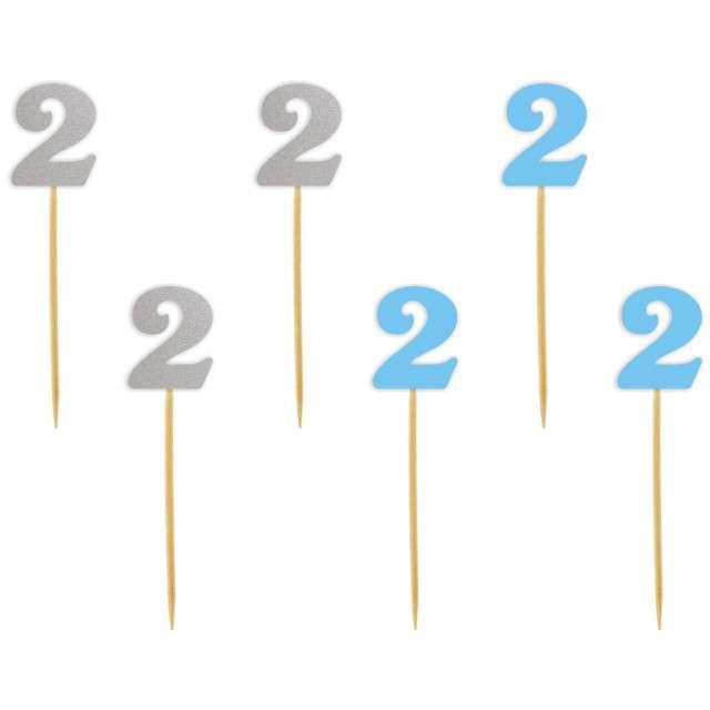 """Szpilki drewniane """"Urodziny  2"""", błękitno-srebrne, 6 szt"""