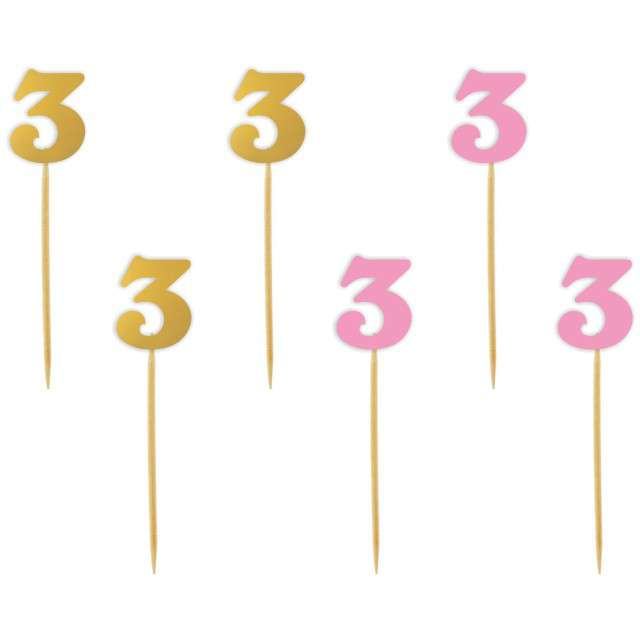 """Szpilki drewniane """"Urodziny  3"""", różowo-złote, 6 szt"""