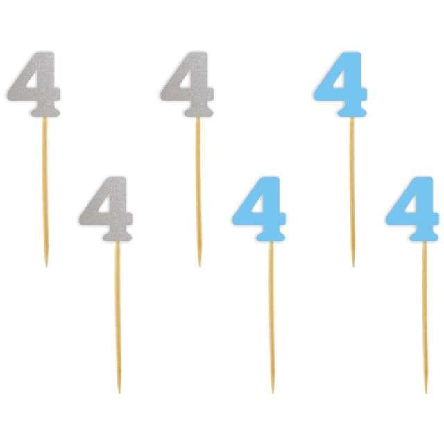 """Szpilki drewniane """"Urodziny  4"""", błękitno-srebrne, 6 szt"""