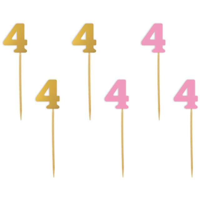 """Szpilki drewniane """"Urodziny  4"""", różowo-złote, 6 szt"""