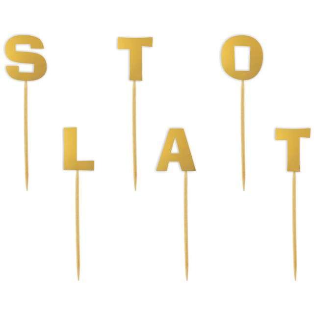 """Szpilki drewniane """"Sto Lat"""", złote, 6 szt"""