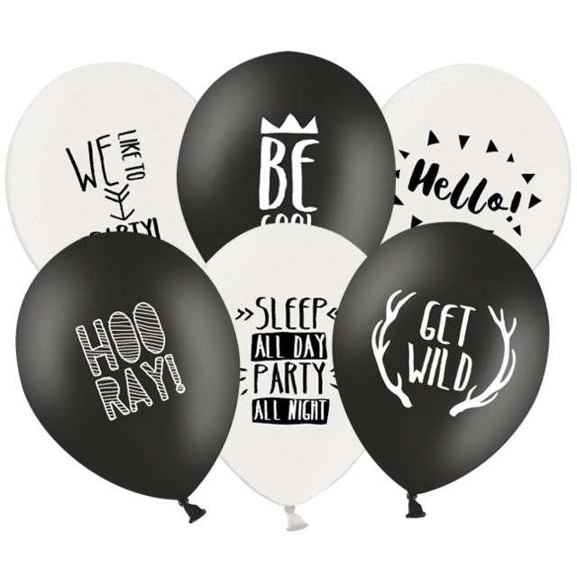 "Balony ""Party"", pastel black white, STRONG, 12"", 6 szt"