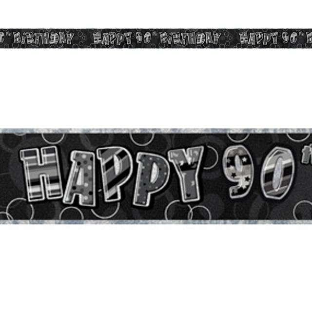 """Baner taśma """"Urodziny 90"""", czarny glitz, UNIQUE, 365 cm"""