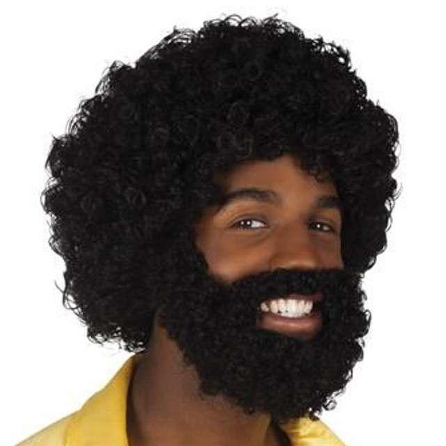 """Peruka party """"Afro + broda + wąsy"""", czarna"""