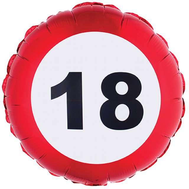 "Balon foliowy ""Urodziny 18 Traffic Birthday"", Funny Fashion, 18"" RND"