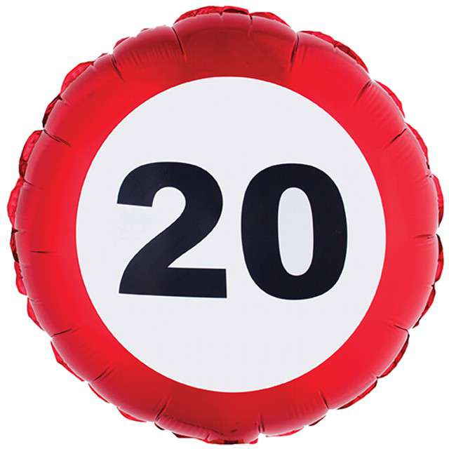 Balon foliowy Urodziny 20 Traffic Birthday Funny Fashion 18 RND