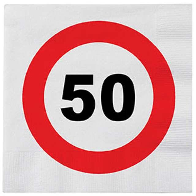 "Serwetki ""50 Traffic Birthday"", 33 cm, Funny Fashion, 16 szt"