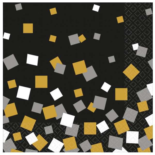 "Serwetki 33 cm, ""Sparkling Confetti"", AMSCAN, czarne, 16 szt"