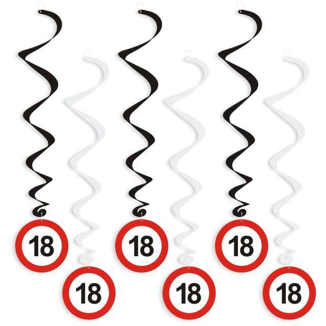 """Świderki wiszące """"Urodziny 18 Traffic Birthday"""", 6 szt"""