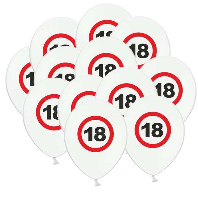 """Balony """"18 Traffic Birthday"""", pastel mix, FUNNY FASHION, 12"""", 12 szt"""