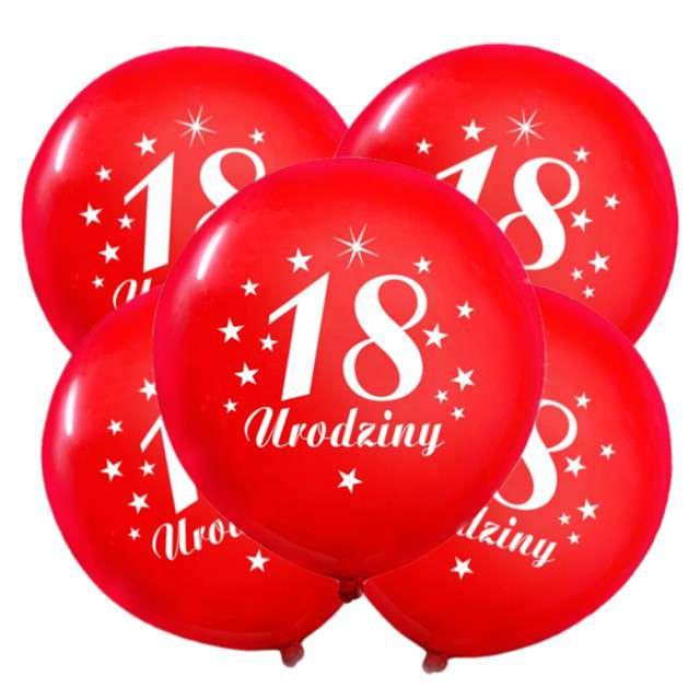 """Balony 12"""", """"Liczba 18 Urodziny"""", czerwone, 5 szt"""