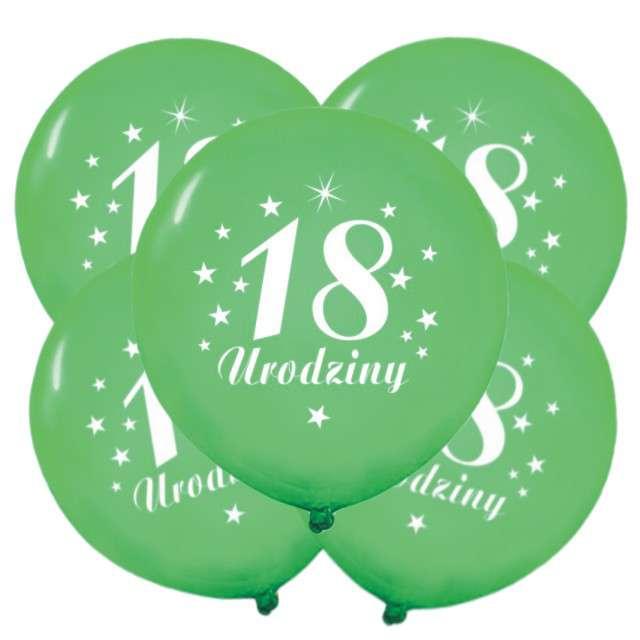 """Balony 12"""", """"Liczba 18 Urodziny"""", zielone, 5 szt"""