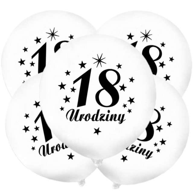 """Balony 12"""", """"Liczba 18 Urodziny"""", białe, 5 szt"""