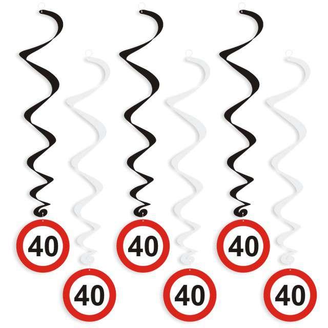 """Świderki wiszące """"Urodziny 40 Traffic Birthday"""", 6 szt"""