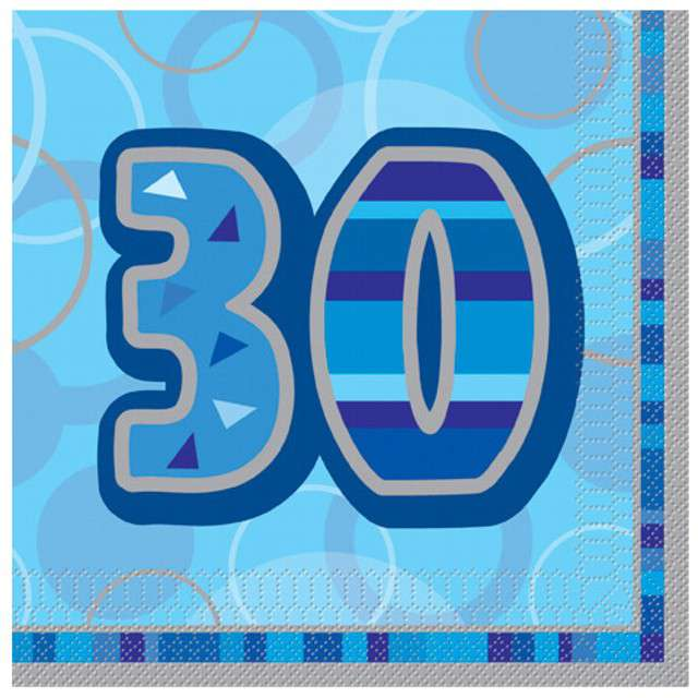 "Serwetki ""30 Glitz Blue"", 33 cm, UNIQUE, 16 szt"