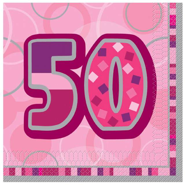 "Serwetki ""50 Glitz Pink"", 33 cm, UNIQUE, 16 szt"