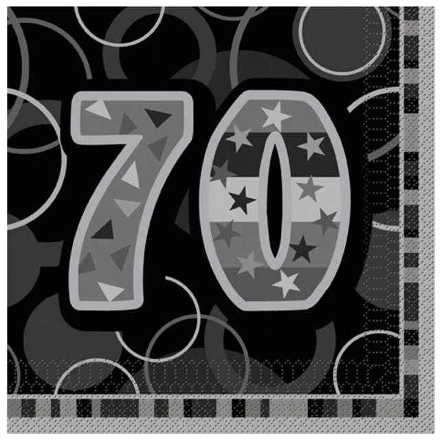 "Serwetki ""70 Glitz Black"", 33 cm, UNIQUE, 16 szt"