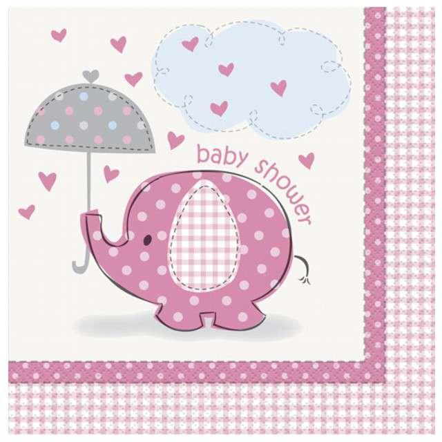 """Serwetki """"Baby Shower różowy słonik"""", 33 cm, UNIQUE, 16 szt"""
