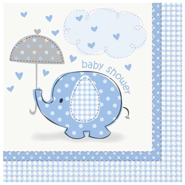 """Serwetki """"Baby Shower błękitny słonik"""", 33 cm, UNIQUE, 16 szt"""