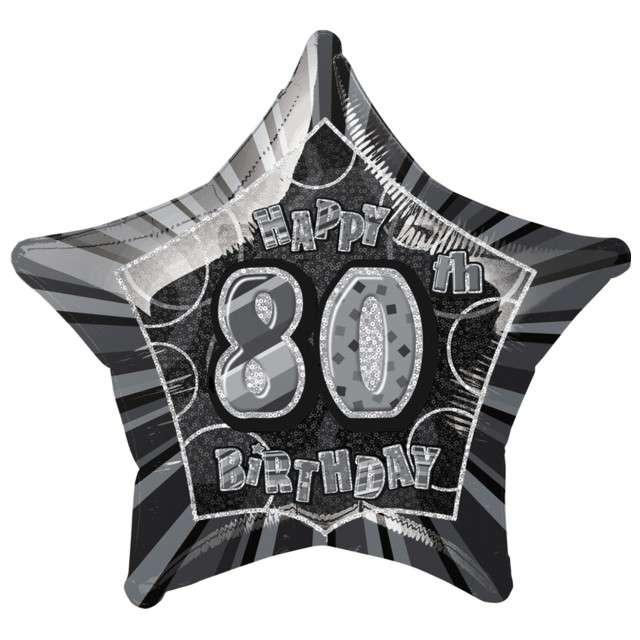 """Balon foliowy """"Urodziny 80"""", czarny, UNIQUE, 20"""" STR"""