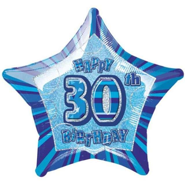 """Balon foliowy """"Urodziny 30"""", niebieski, UNIQUE, 20"""" STR"""