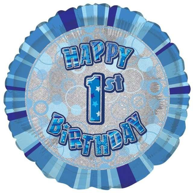 """Balon foliowy """"Urodziny  1"""", niebieski, UNIQUE, 18"""" CIR"""