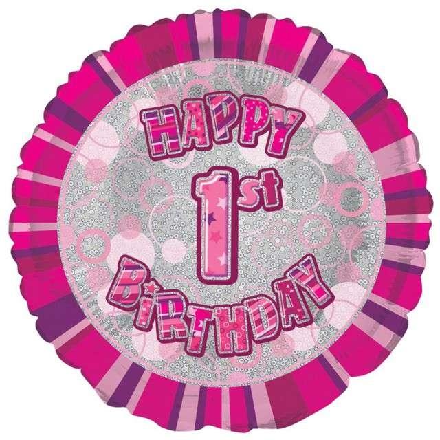 """Balon foliowy """"Urodziny  1"""", różowy, UNIQUE, 18"""" CIR"""