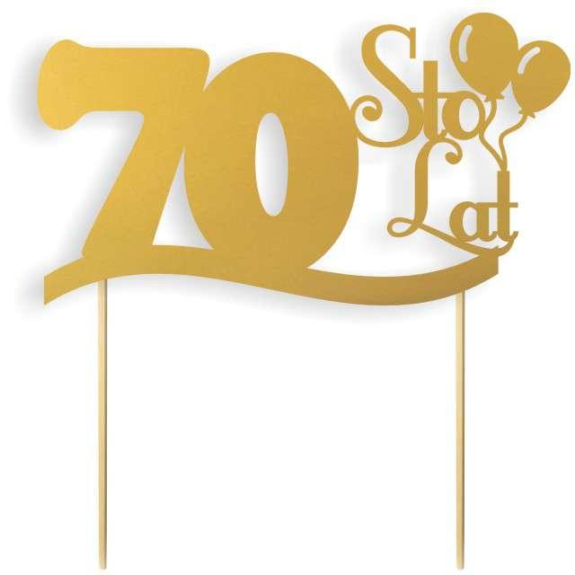"""Dekoracja na tort papierowa """"Urodziny 70"""", złota,  17 cm"""