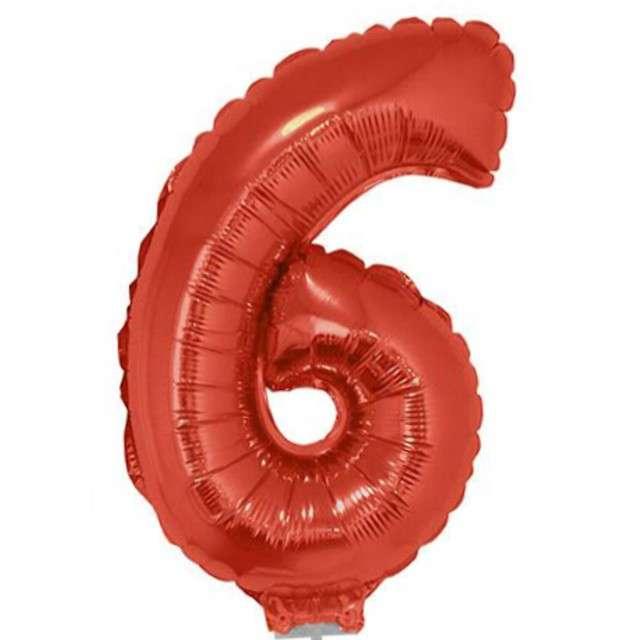 """Balon foliowy cyfra 6, czerwony, Funny Fashion, 16"""""""