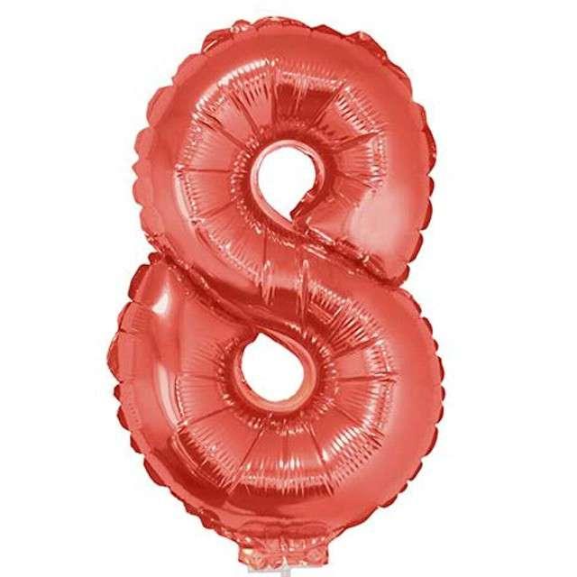 """Balon foliowy cyfra 8, czerwony, Funny Fashion, 16"""""""