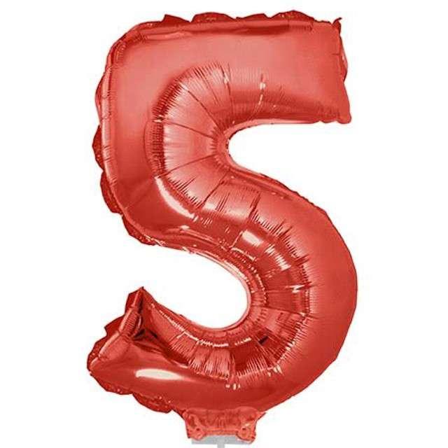 """Balon foliowy cyfra 5, czerwony, Funny Fashion, 16"""""""