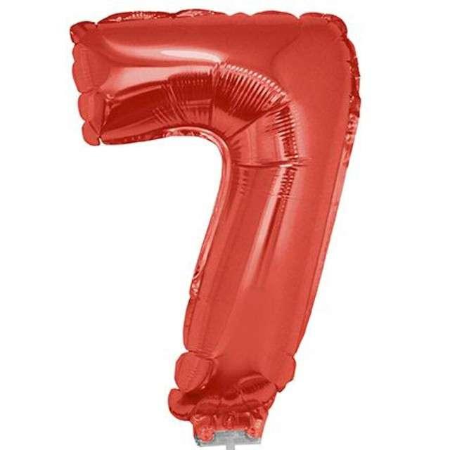 """Balon foliowy cyfra 7, czerwony, Funny Fashion, 16"""""""