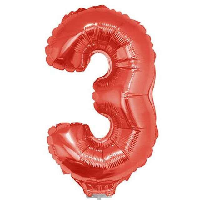 """Balon foliowy cyfra 3, czerwony, Funny Fashion, 16"""""""