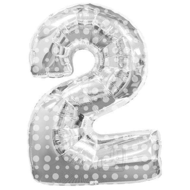 """Balon foliowy cyfra 2, srebrny w kropki, FOLAT, 34"""""""