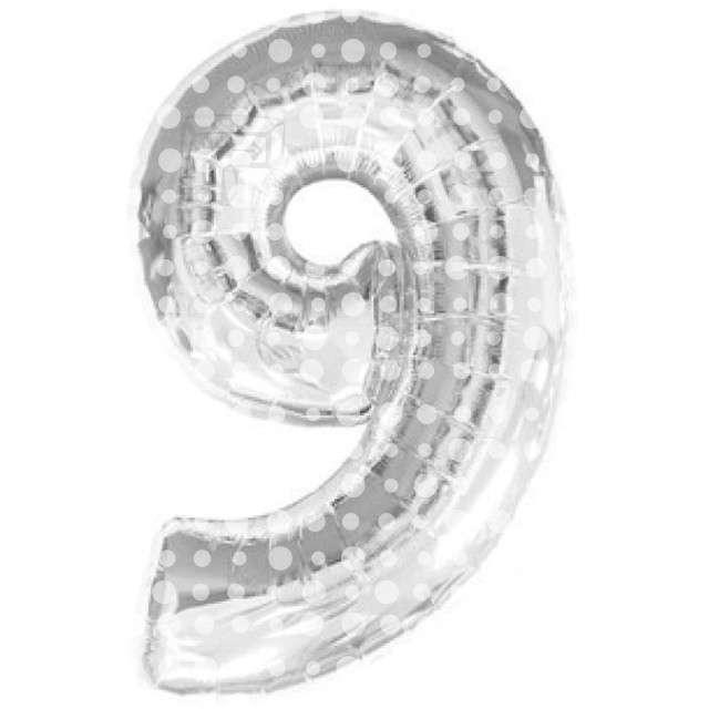 """Balon foliowy cyfra 9, srebrny w kropki, FOLAT, 34"""""""