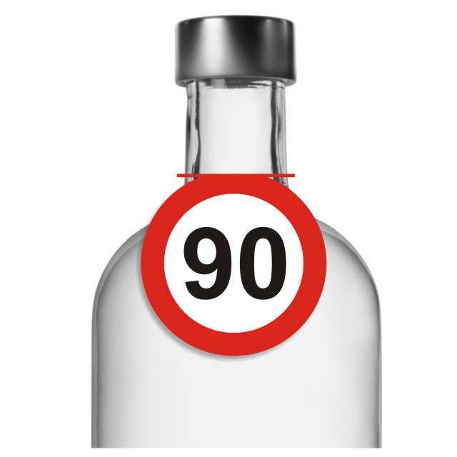 """Zawieszki na alkohol, """"Urodziny 90 Traffic Birthday"""", 10 szt"""