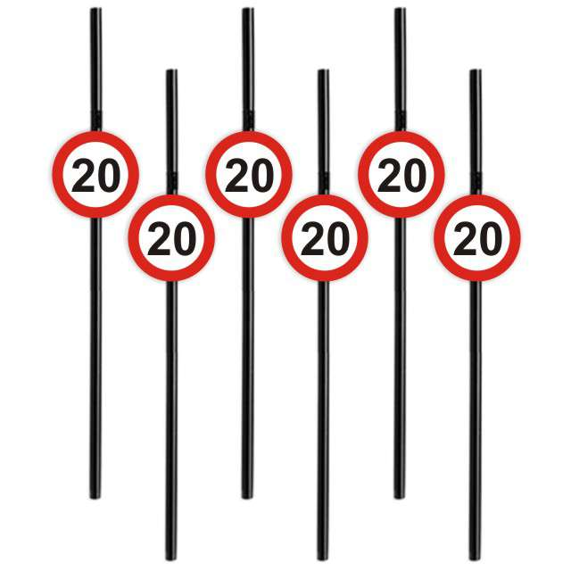 Słomki 20 Traffic Birthday 21cm 6szt