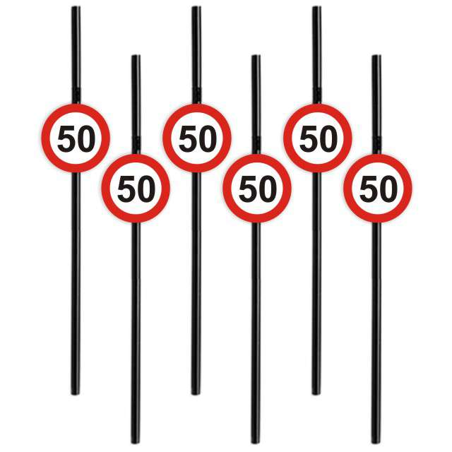 Słomki 50 Traffic Birthday 21cm 6szt
