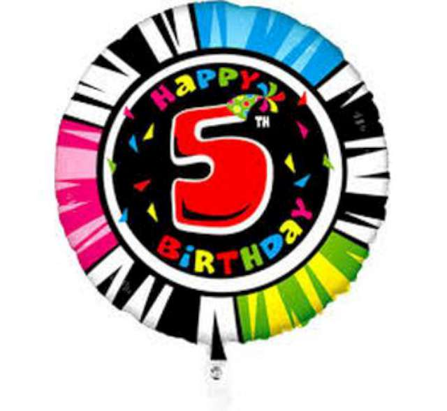 "Balon foliowy ""5 Urodziny"", kolor mix, Grabo, 21"" RND"