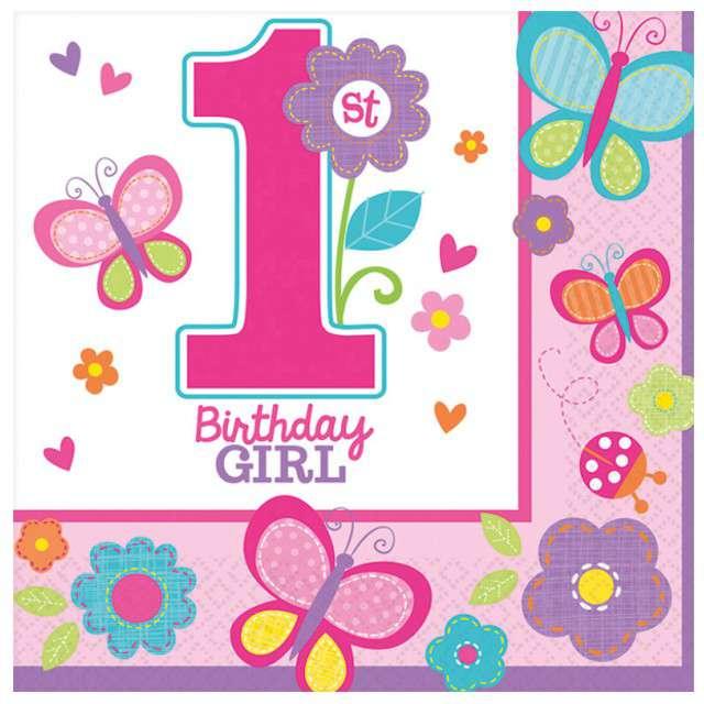"Serwetki ""Birthday Girl 1 pink"", 33 cm, 16 szt"