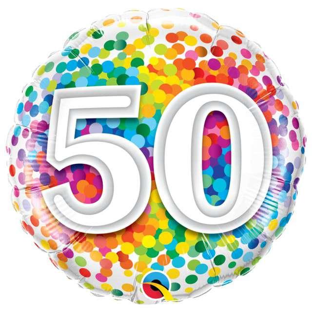 """Balon foliowy """"50 Confetti"""", QUALATEX, 18"""" CIR"""