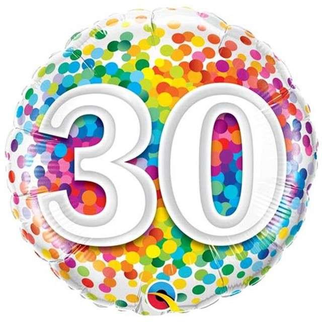 """Balon foliowy """"30 Confetti"""", QUALATEX, 18"""" CIR"""