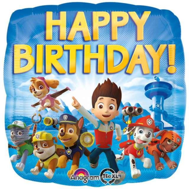 """Balon foliowy """"Paw Patrol Happy Birthday"""", AMSCAN, 18"""" SQR"""